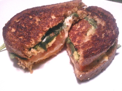 Tomato, Avo, Spinach Grilled Cheese
