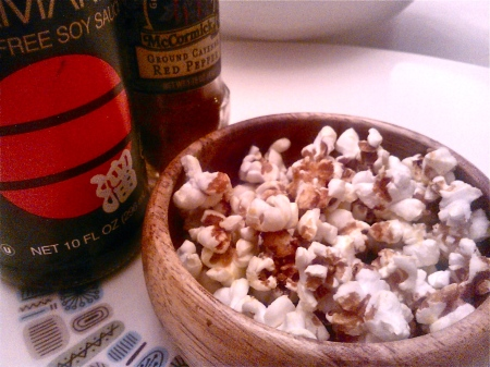Nutritional Yeast Popcorn with Tamari and Cayenne