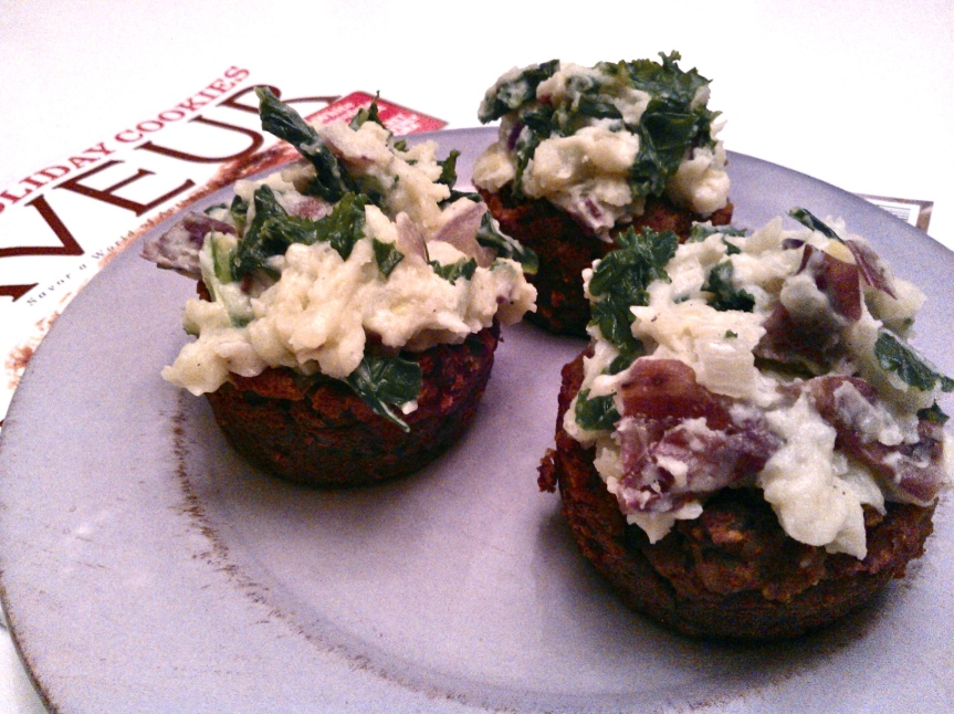 Meat-less Meatloaf Muffins Topped with Kale MashedPotatoes