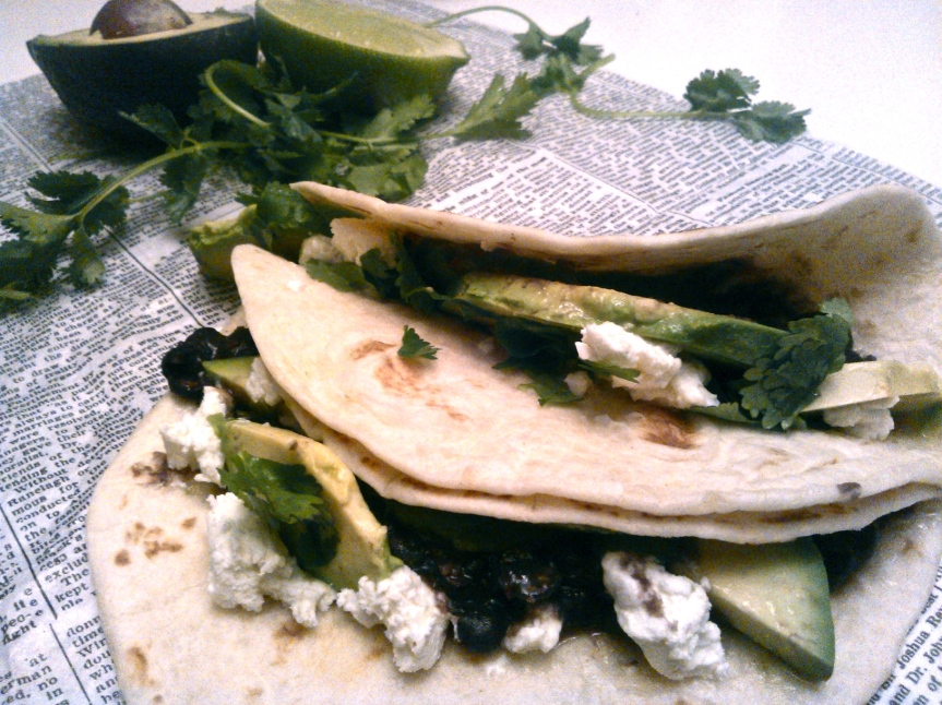 Black Bean, Avocado + Goat Cheese Tacos with a Hint of Honey-Lime
