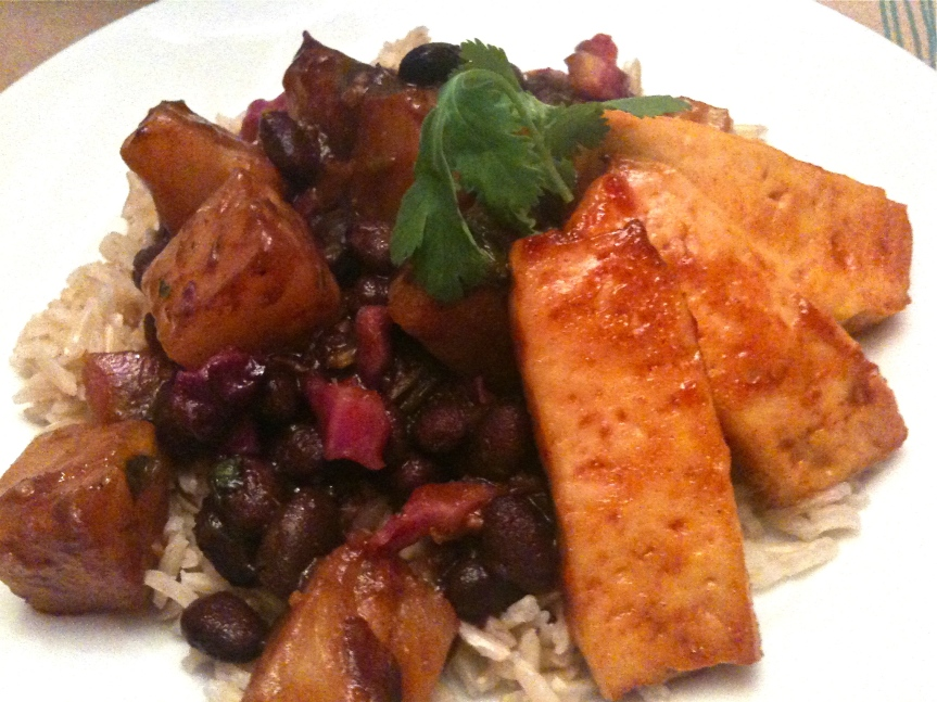 Barbecued Tofu, Black Beans, Pineapple and Basmati Brown Rice