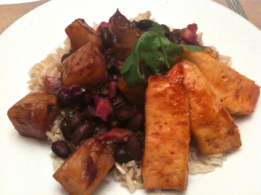Barbecued Tofu with Black Beans, Pineapple and Basmati Rice