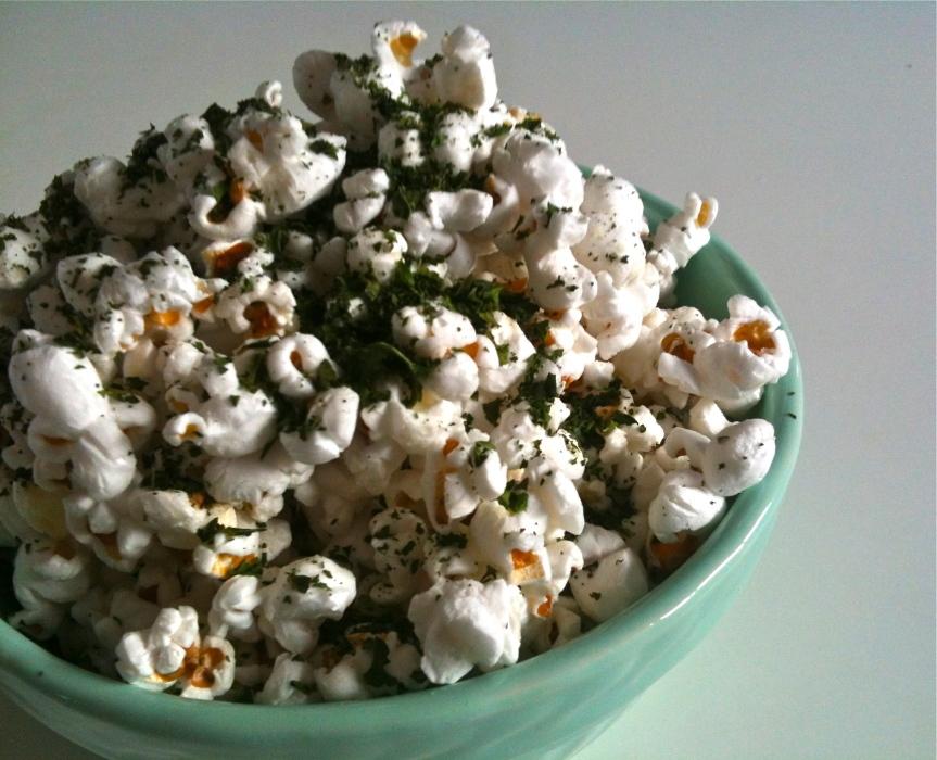 Parmesan and Kale DustedPopcorn