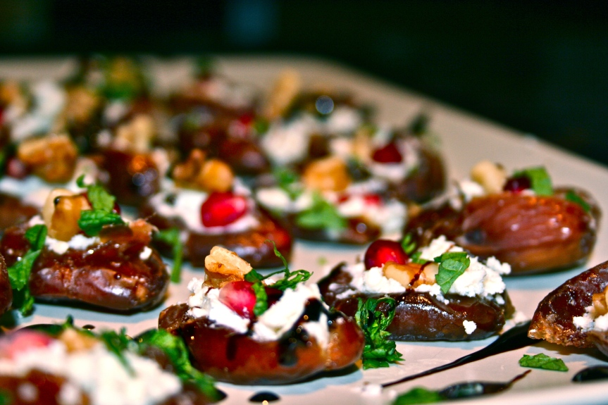 Dates Decked Out with Blue Cheese, Pomegranate, Walnut & Mint