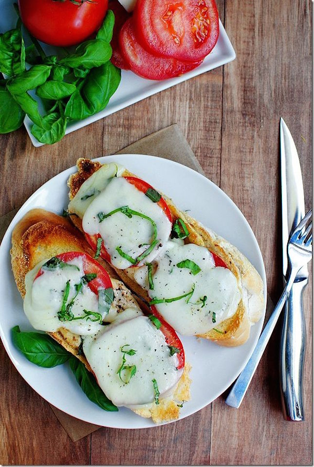 Open Face Chicken Caprese Sandwich