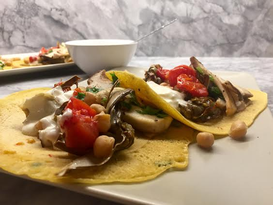 Farinata With Blistered Tomatoes, Roasted Baby Artichokes, Mushrooms and Aioli