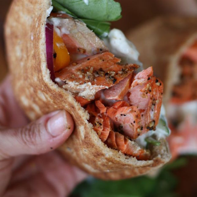 Broiled Salmon Gyros