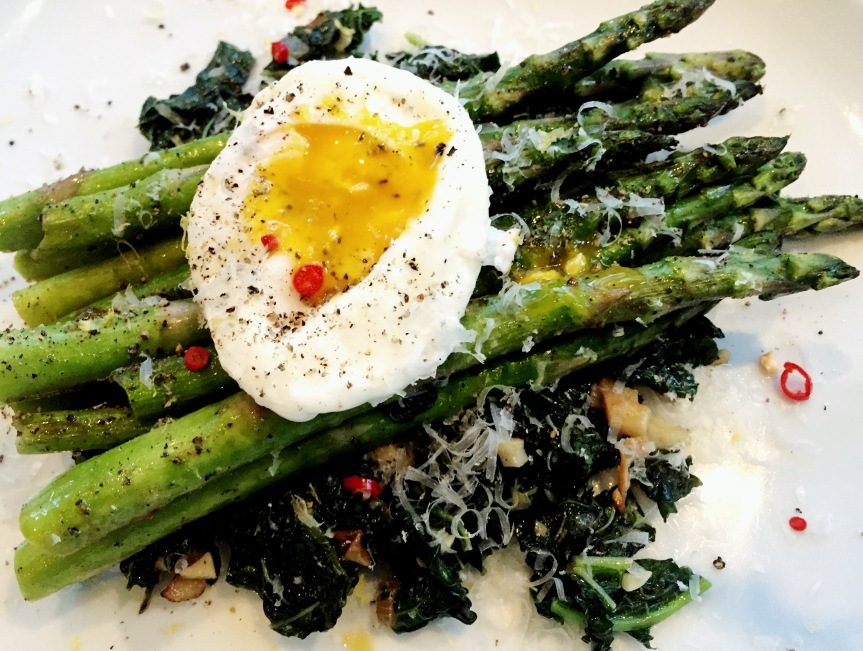 Asparagus & Poached Egg on Greens