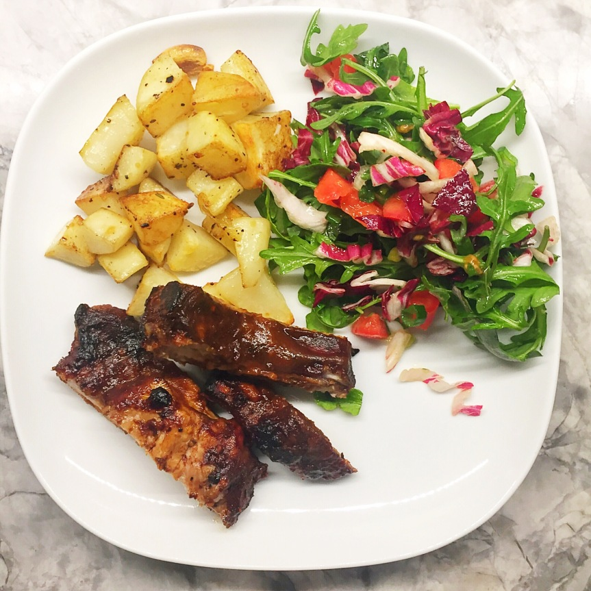 Barbecue Ribs, Rosemary Roasted Potatoes and Arugula Salad