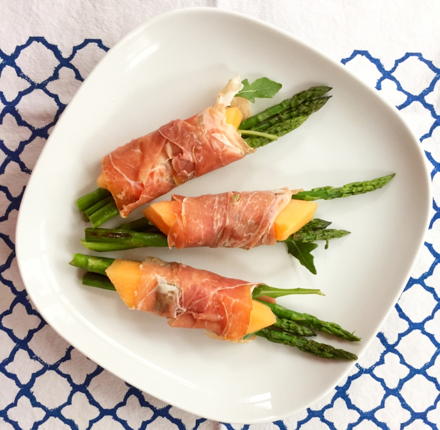 Asparagus, Melon, Arugula and Prosciutto Bundles