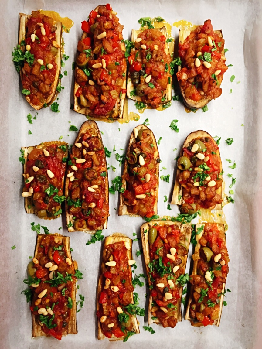 Caponata Stuffed Eggplants