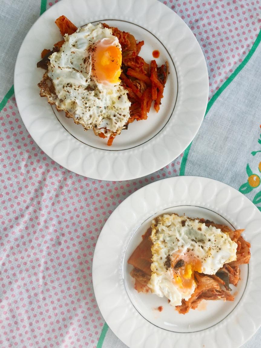 Heart Shaped Eggs Atop Kimchi