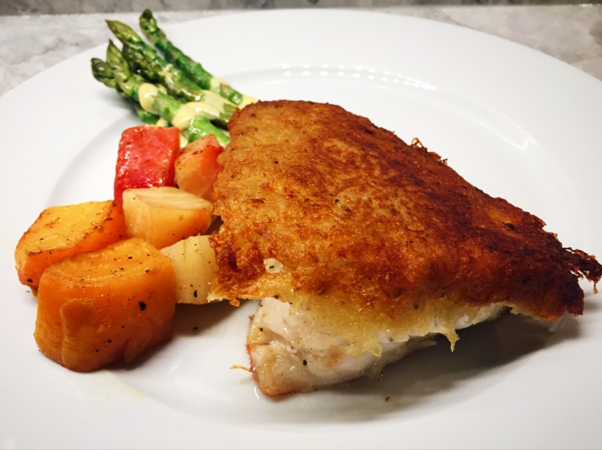 Potato Crusted Rock Hind Grouper with Roasted Beets